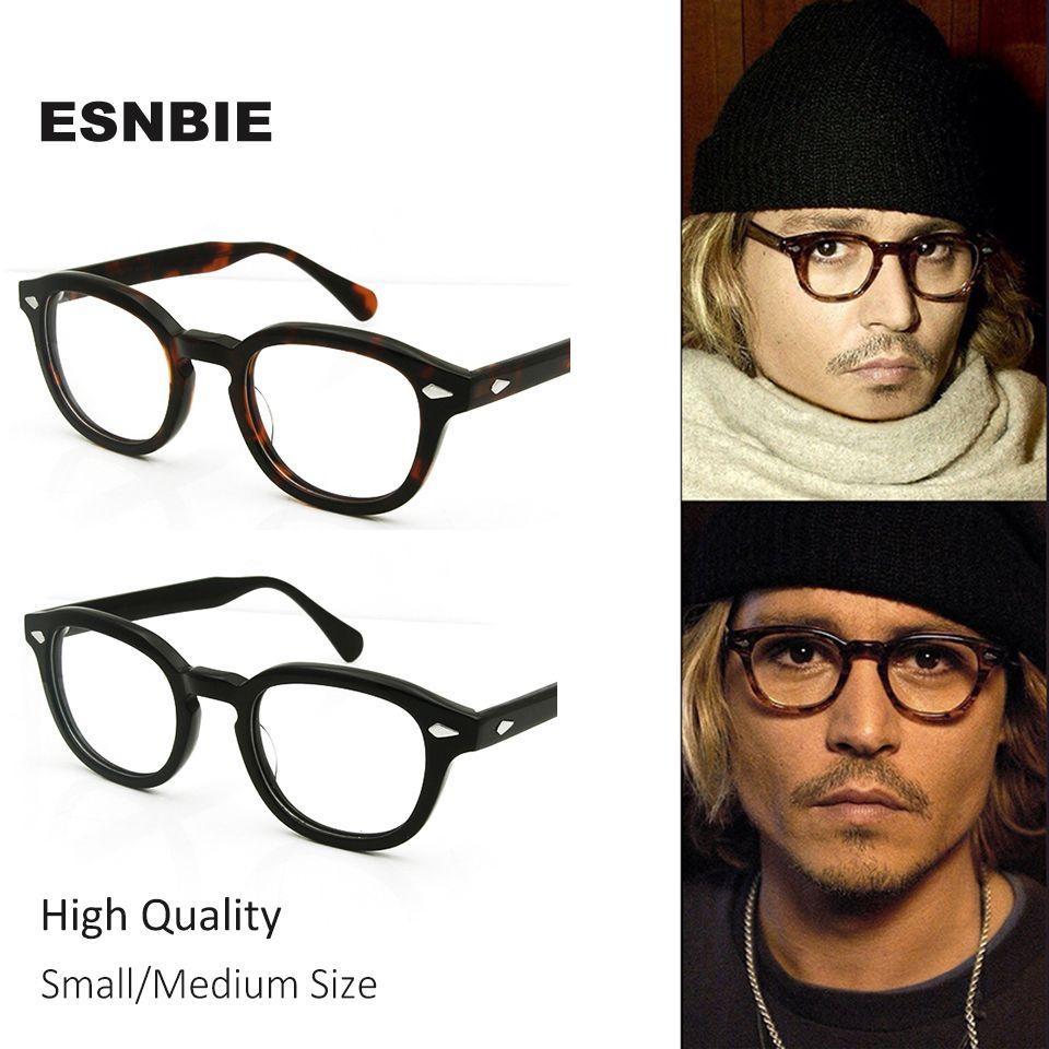 ESNBIE High Quality Acetate Johnny Depp Style Glasses Men <font><b>Retro</b></font> Vintage Prescription Glasses Women Optical Spectacle Frame Round