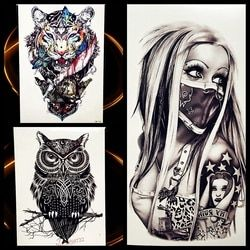 Sexy Punk Masked Women Lady Temporary Tattoo Sticker 21*15cm Waterproof Fake Tattoo For Men Women Body Art Tatoo Arm Leg Decals