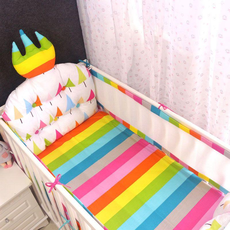 4 шт. Корона детское постельное белье бампер дышащей кроватки лайнер хлопка занавес кроватки бампер детская кроватка комплекты кровать про...