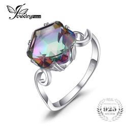 JewelryPalace 3.2ct Genuine Rainbow Fire Mystic Topaz Ring Solid 925 Sterling Silver Jewelry Best Gift For Women Fine Jewelry