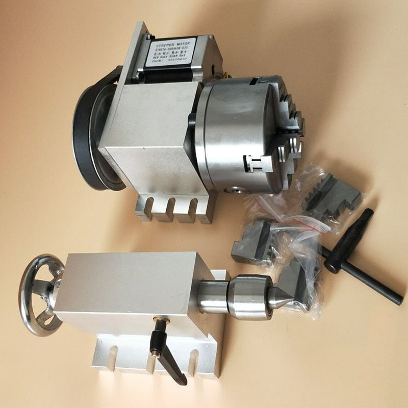 Nema 23stepper motor (6:1) K12-100mm 4 Jaw Chuck 100mm CNC 4th axis A aixs rotary axis + tailstock for cnc router