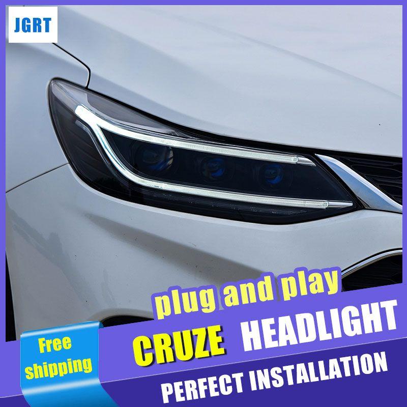 Auto Styling für Chevrolet Cruze Scheinwerfer montage 2018 für Chevrolet Cruze LED Scheinwerfer Objektiv Doppel Strahl H7 mit hid kit 2 stücke.