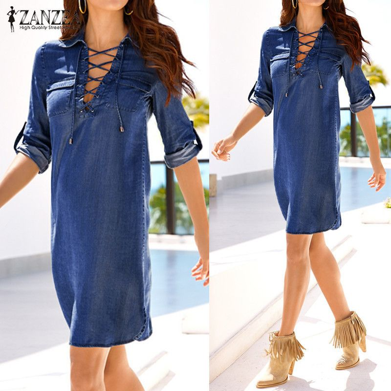 Autumn Denim Dress 2018 ZANZEA Women Mini Dress Long Sleeve Turn <font><b>Down</b></font> Collar Bandage Lace Up Dresses Sexy Ladies Vestidos