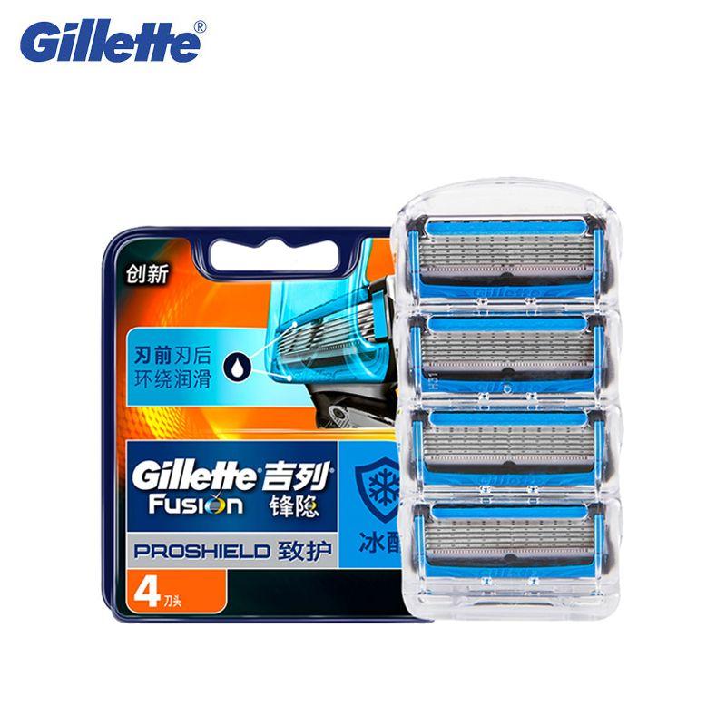 Gillette Fusion Proshield Razor Blade For Men Shaver Blades With Cooling Technology Beard removal Shaving razors Blades 4Pcs