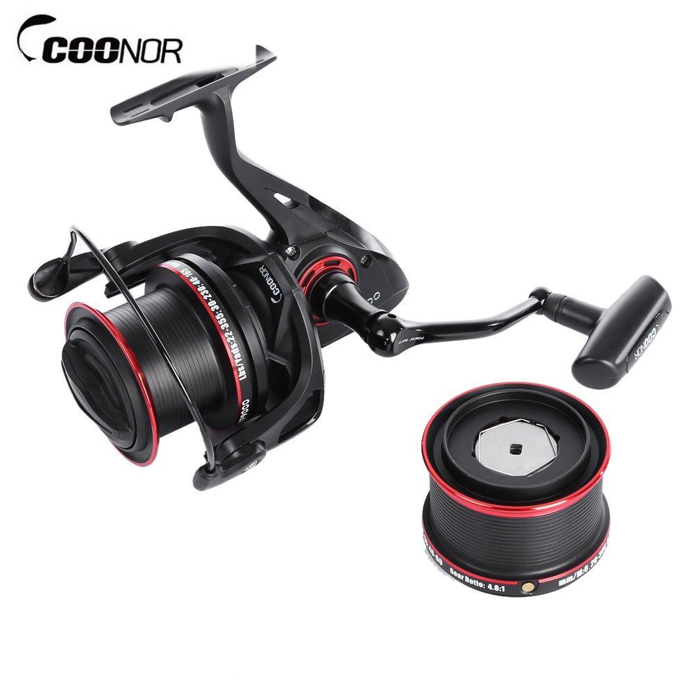 COONOR 12 + 2 Ball Fishing Reels Bearings Metal Fishing Wheels Spool Spinning Fishing Reel 4.6:1 with YF8000 + YF9000 Wheels