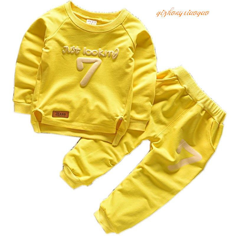 2016 printemps costume printemps bébé garçons vêtements ensemble décontracté Sport lettres survêtement infantile bambin filles vêtements Top t-shirt + pantalon m