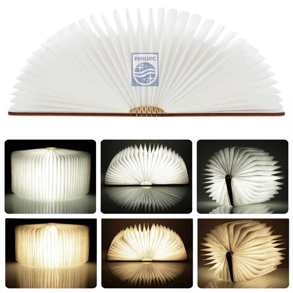 Free shipping Wood Turning books Nightlight USB rechargeable LED folding <font><b>lamp</b></font> book creative fashion gift table <font><b>lamp</b></font>