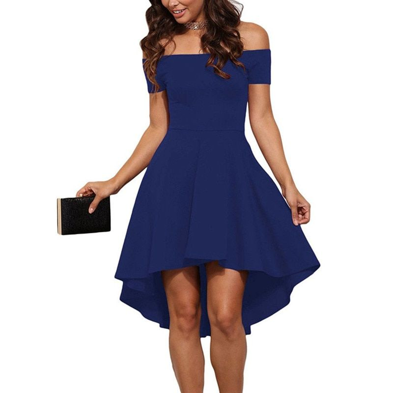 Summer Dress 2017 Women Off Shoulder Party Dresses Burgundy&Blue Casual Elegant Vintage Midi Dress Vestidos