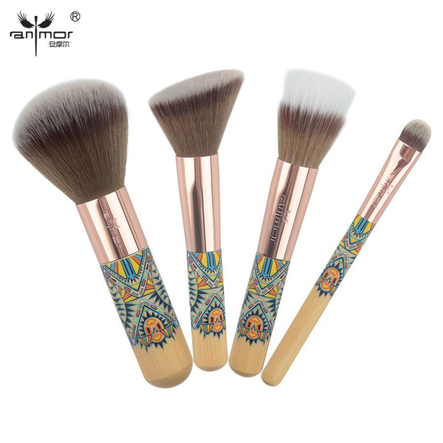 Anmor 4 PIÈCE Voyages Maquillage Pinceaux Avec Mini Taille Poudre Blush Contour Ombre À Paupières Duo Fibre Brosses