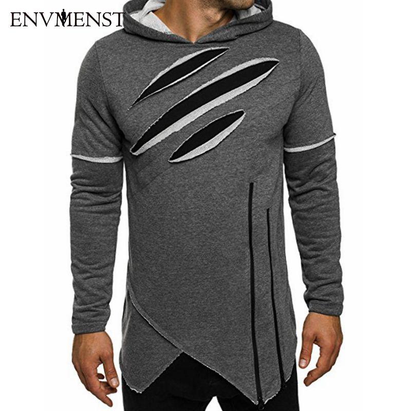 Envmenst 2017 Autumn New Fashion Men's Long Black Hoodies Sweatshirts Zip irregular Hip Hop High Street wear Boys Hoodie