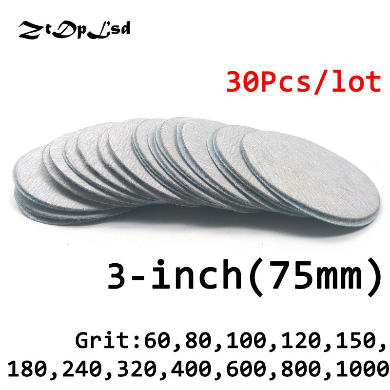 ZtDpLsd 30 Pc/lot Dry Grinding 3 Inches 75MM Abrasive Paper Flocking Sandpaper Pad Sanding Disc Electric Grinder Accessories