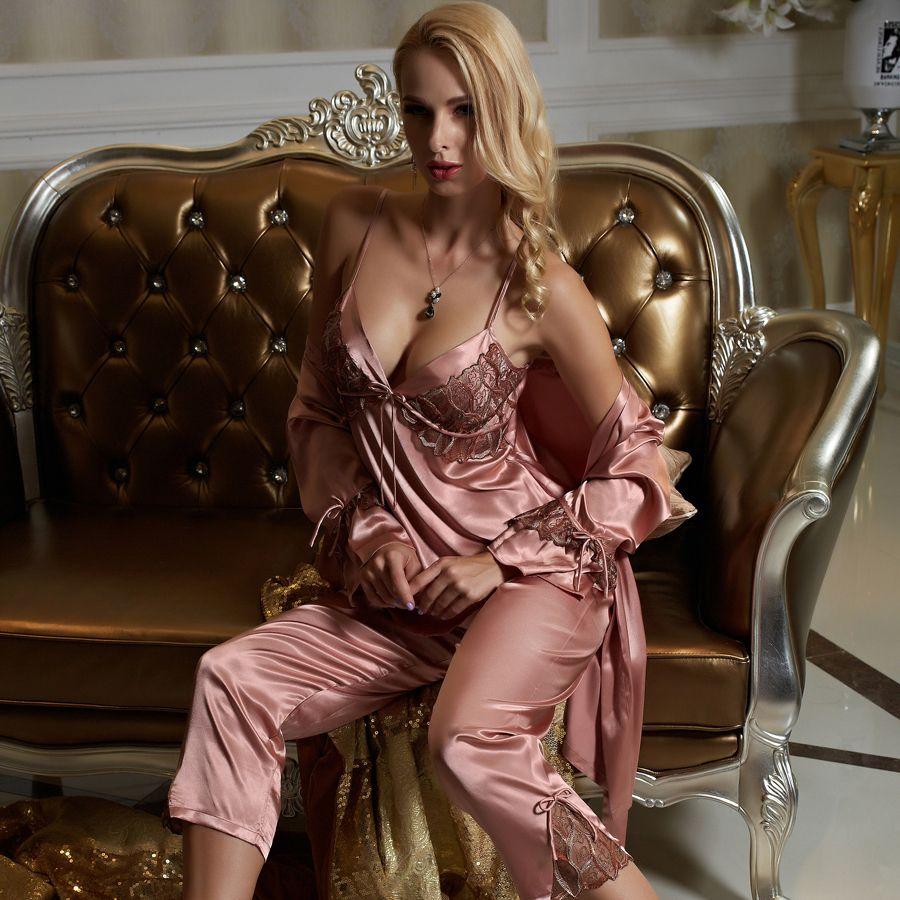 Xifenni Pajamas Female Sexy Satin Silk Sleepwear Women Three-Piece Pyjama Sets Lace Embroidery Long-Sleeve Pijama 1531