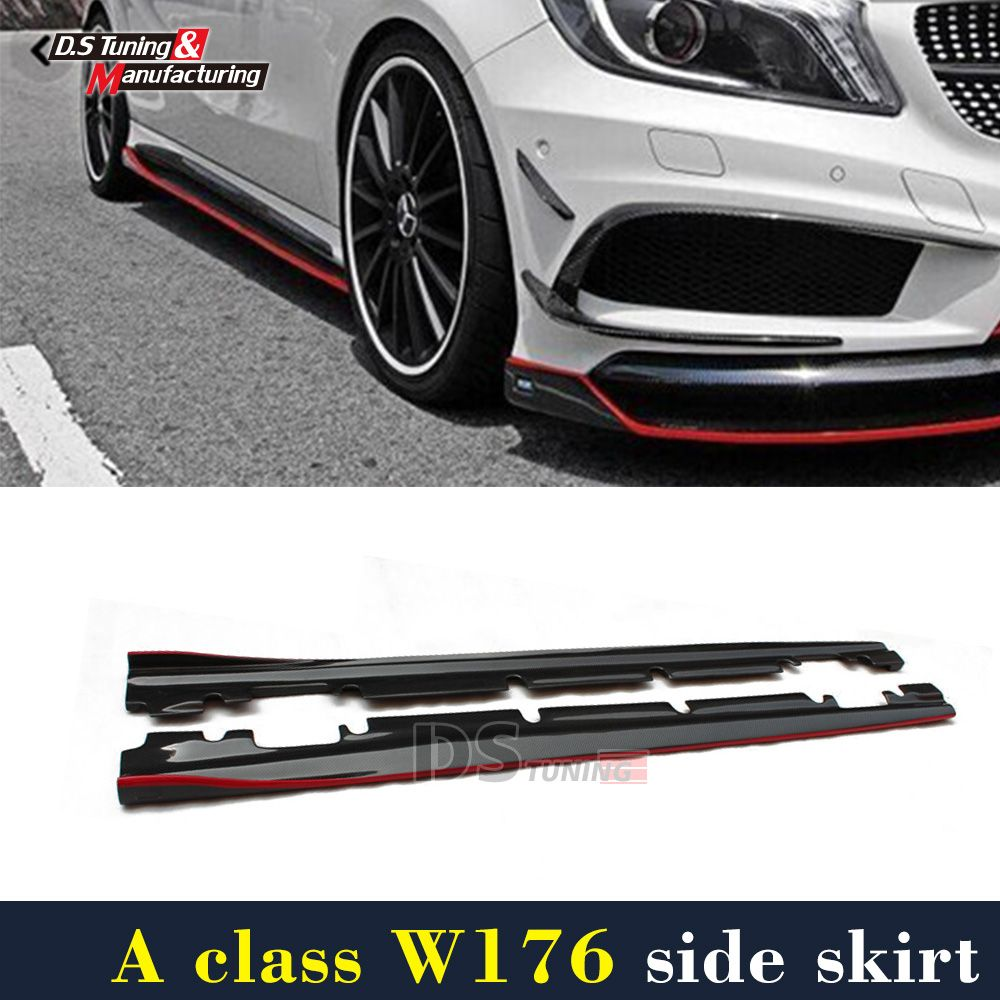 Mercedes W176 Carbon Fiber Side Skirt For Benz A Class With New pacakge A200 A250 A45 New / CLA45 W117 Sport Edition