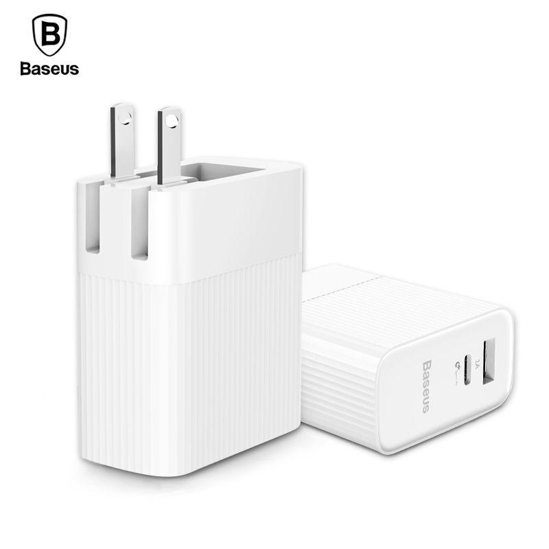 BASEUS Тип-C PD USB телефон Зарядное устройство для iPhone X 8 8 Plus адаптер 30 Вт Быстрый настенного Зарядное устройство два Порты 3A Max PD Зарядное устройс...