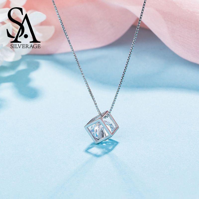 SA SILVERAGE 925 en argent Sterling strass longs colliers carré pendentif collier pour femmes bijoux à la mode chaîne collier