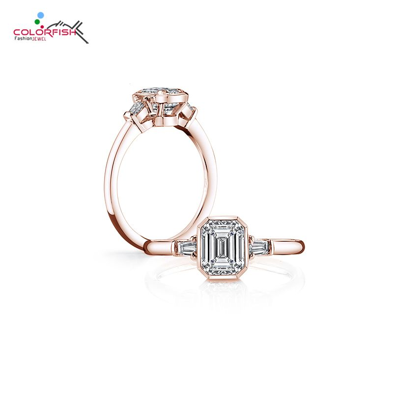 COLORFISH Solid 925 Sterling Silver 2ct Ring For Women Rose Gold Filled Square Cut Bezel Set Synthetic NSCD SONA Ring Engagement