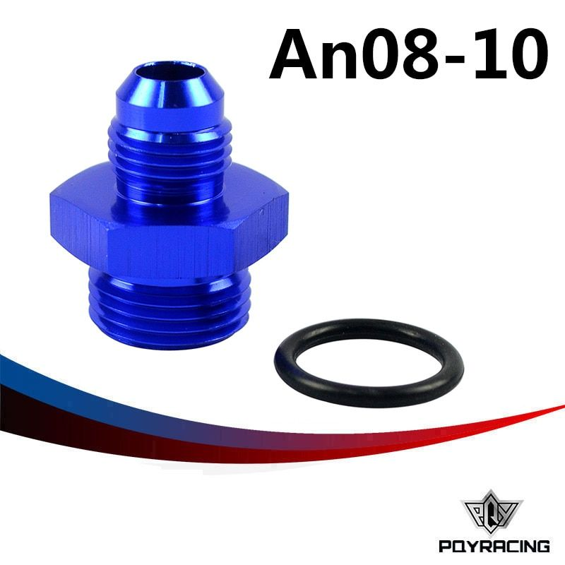 PQY RACING- AN8-8AN MALE to Straight Cut Male AN10-10AN Fittings Adaptor w/O-Ring PQY-SL920-08-10-011