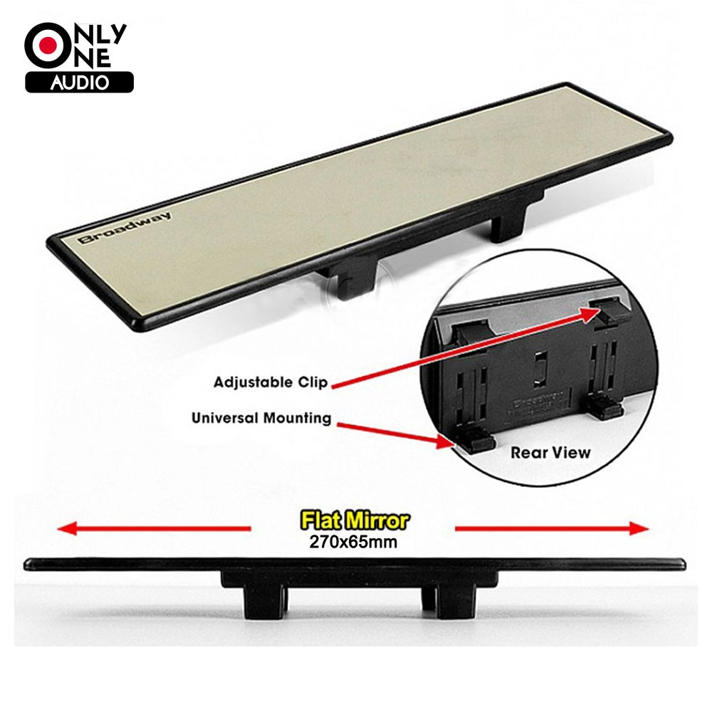 ONLY ONE AUDIO Ultra Thin Universal 270mm Wide Flat Auto Interior Mirrors Clip On Car Vehicle Truck Inside Rear View Mirror