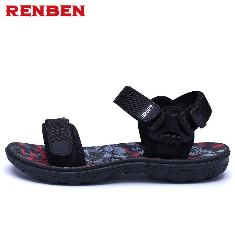 Men sandals 2018 Summer Men Black Beach Sandals high quality Unisex summer flat shoes sandalias para <font><b>hombre</b></font> Size