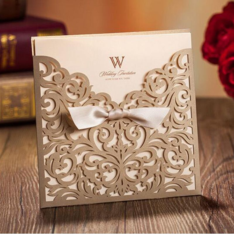 50pcs Gold Wedding Invitation Card Greeting Card Postcard Customize Printing With Ribbon Laser Cut Wedding Event Party Supplies