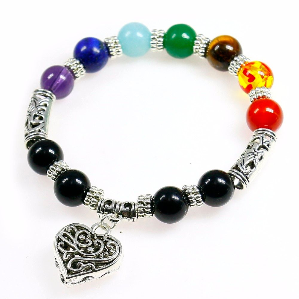 Mix 7 Color Yoga Bracelets Black Natural Stone 7 Chakra Healing Balance 10mm Beads Bracelet For Men Women Reiki Prayer Stones