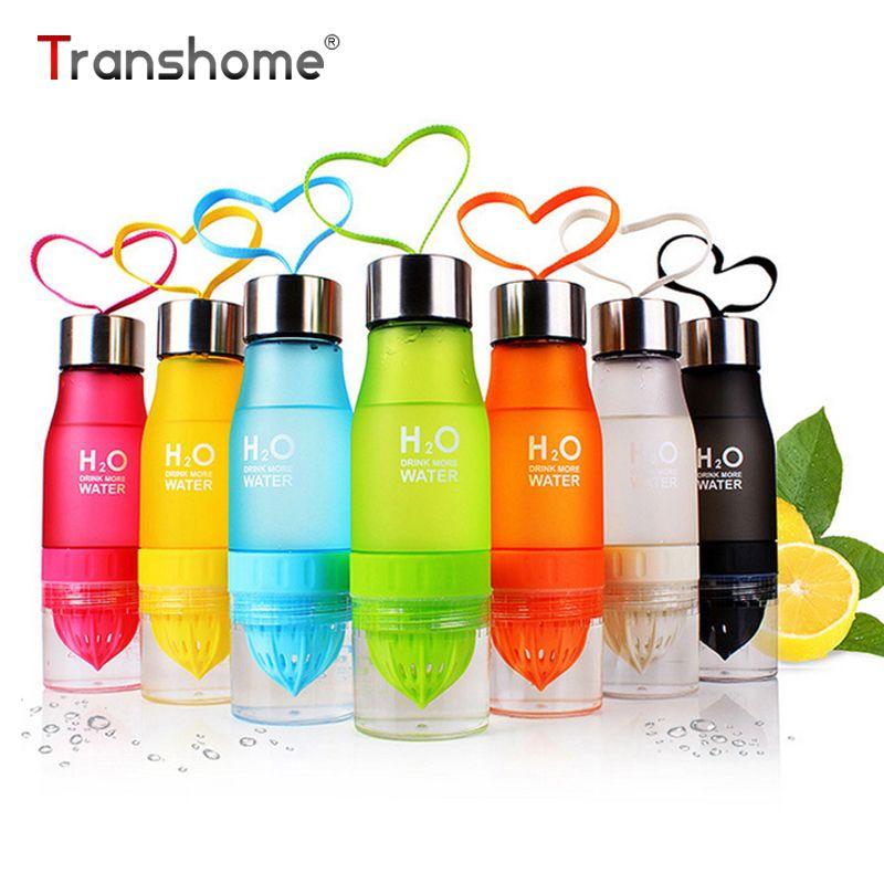Transhome Creative jus de fruits infuseur bouteille d'eau 650 ml en plastique Portable bouteille de jus de citron pour le Sport nautique bouteille à boire