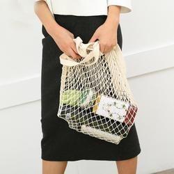 Kain Bersih Dapat Digunakan Kembali Sayuran Buah Tas Belanja Santai String Kelontong Belanja Katun Tote Mesh Jaring Tas Bahu Wanita