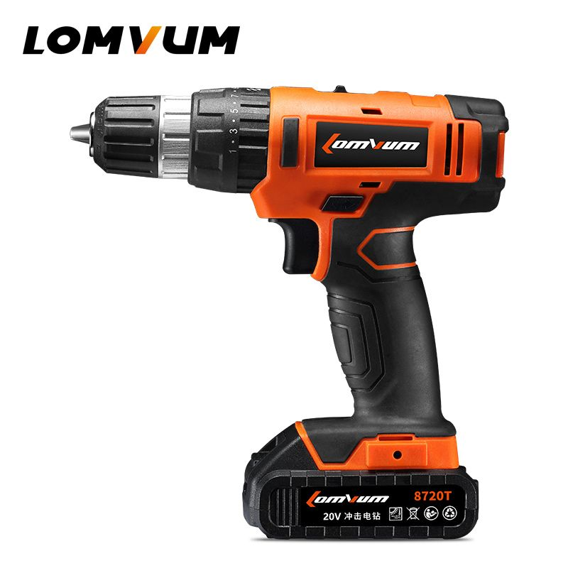 LOMVUM 20V Electric Rechargeable Multi-function Cordless Drill with Lithium Battery Hammer Drill Factory 8720T