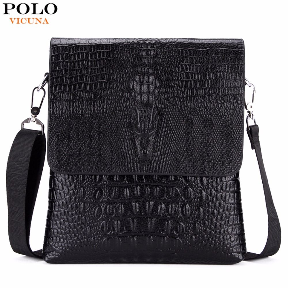 VICUNA POLO Luxury Embossed Alligator Pattern Famous Brand Men Messenger Bags Classic <font><b>Business</b></font> Mens Shoulder Bag Briefcase Bag
