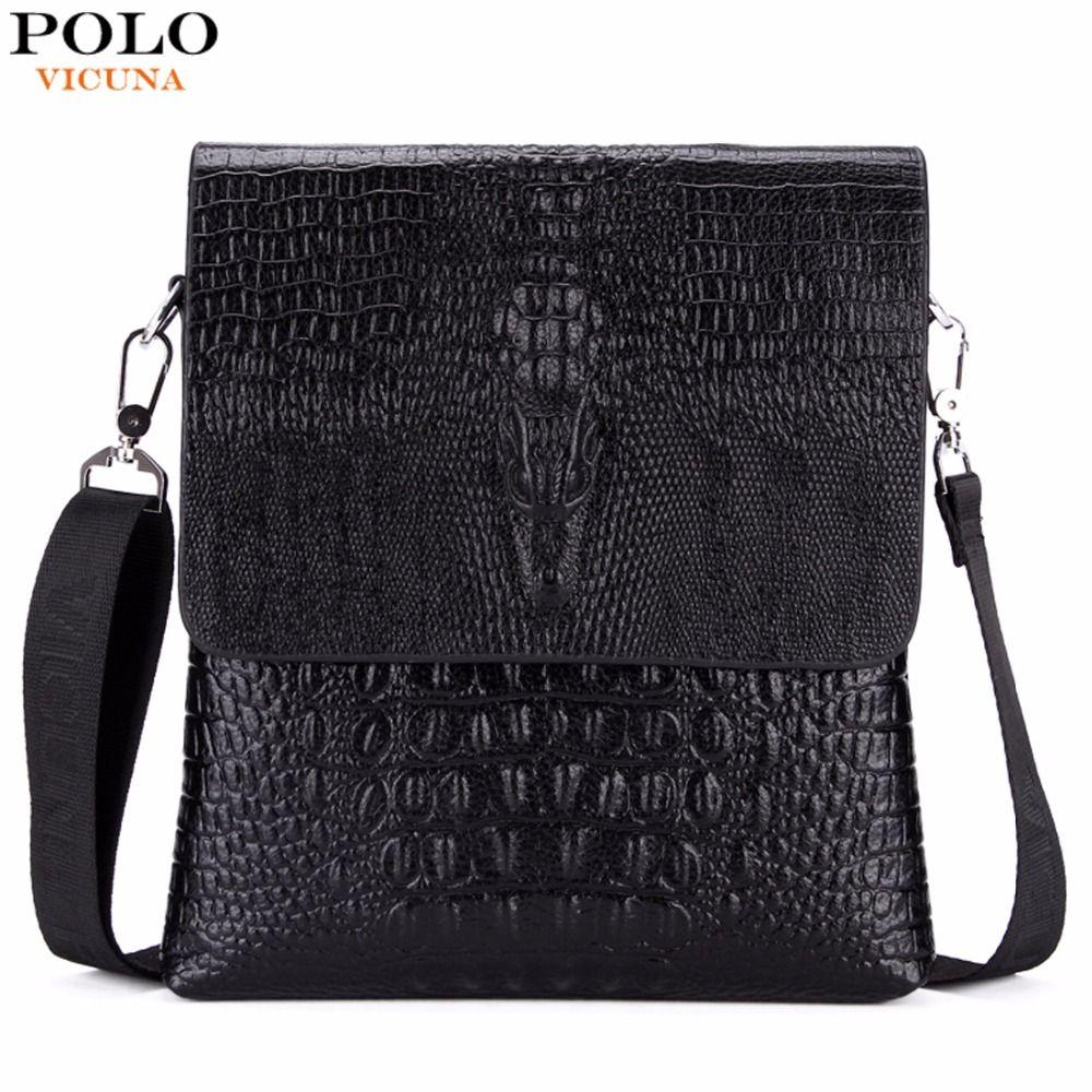 VICUNA POLO Luxury Embossed Alligator Pattern Famous Brand Men <font><b>Messenger</b></font> Bags Classic Business Mens Shoulder Bag Briefcase Bag