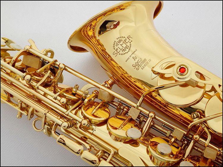 Hot selling 802saxophone alto Musical Instruments saxofone Electrophoresis gold professional sax & Hard boxs