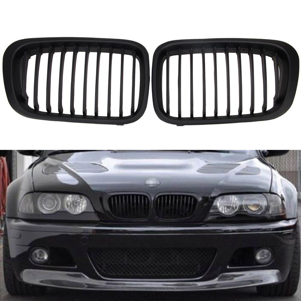 1 Pair ABS Front Replacement Matte Black Kidney Grille Grill For BMW E46 3 Series Sedan 4 Droor Sedan 1998-2001