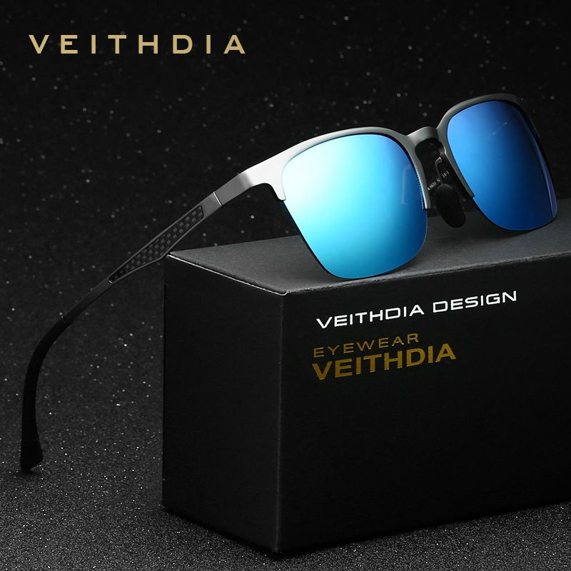 VEITHDIA unisexe rétro aluminium magnésium marque lunettes de soleil polarisées lentille Vintage accessoires lunettes de soleil hommes/femmes 6631