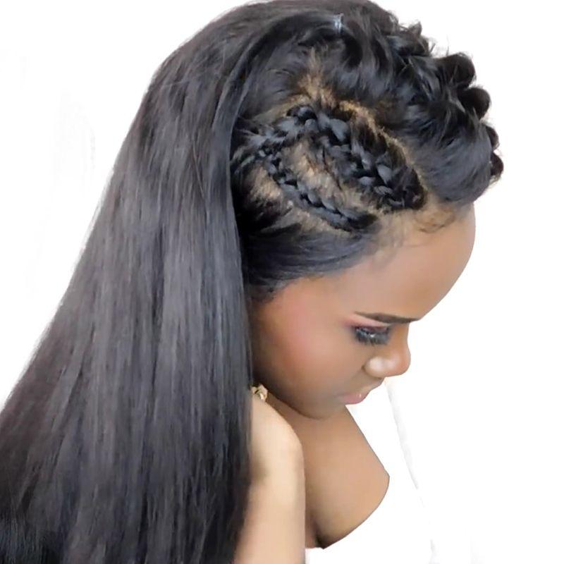 Pré Pincées Full Lace Perruques de Cheveux Humains Avec Bébé Cheveux Pour femmes Naturel Noir 250% Droite Brésilienne Vierge Perruques de Cheveux CARA Cheveux