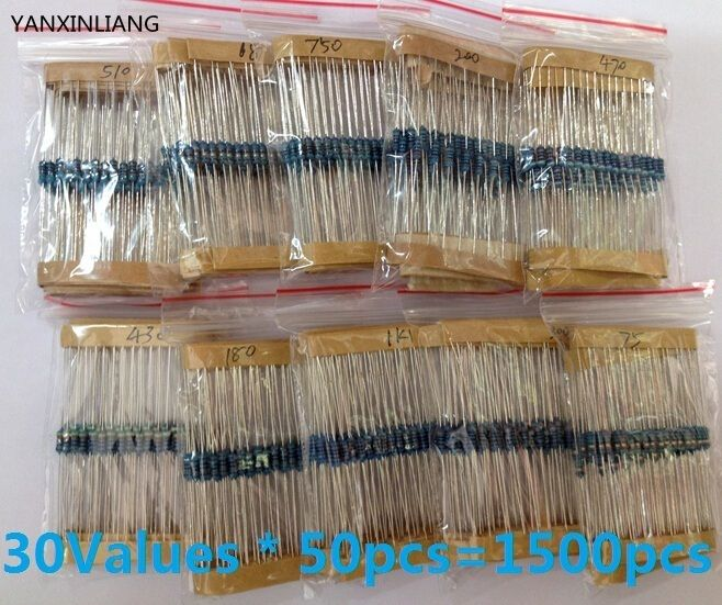 New originalFreedom of choice, Total 1500pcs 1% 1/4W Metal Film Resistor Assorted Kit pack 30 Values (1 Ohm ~10M Ohm) ,50pcs Eac