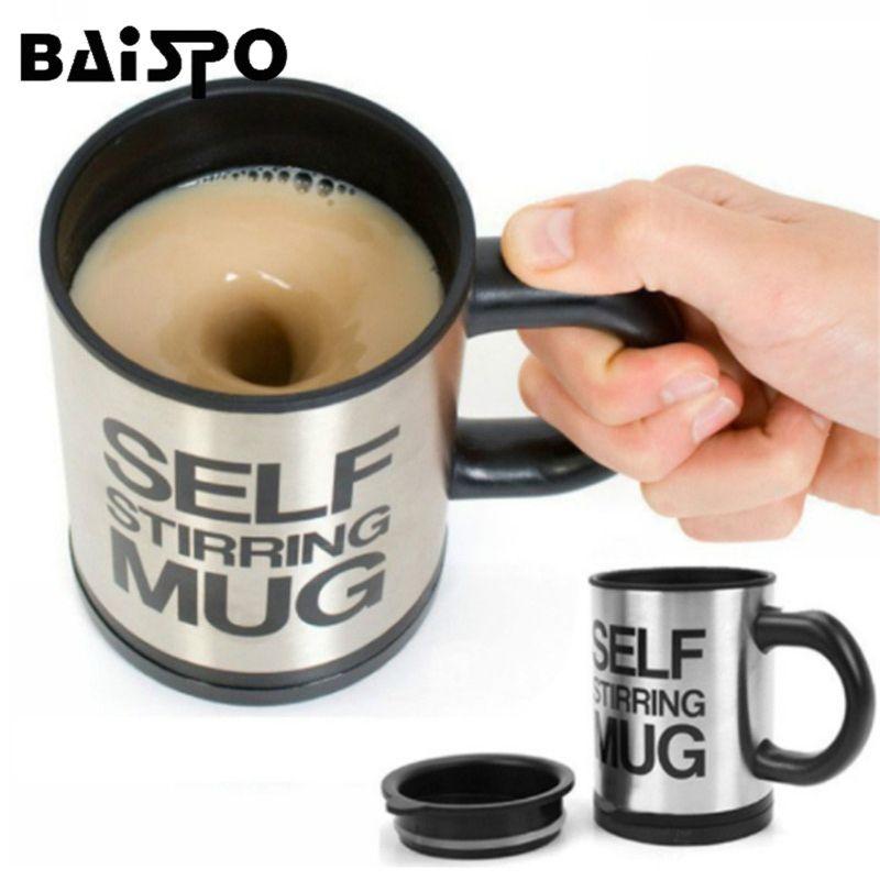 BAISPO 400 Ml tasse automatique électrique paresseux auto agitant tasse automatique café lait tasse de mélange thé intelligent en acier inoxydable tasse de mélange