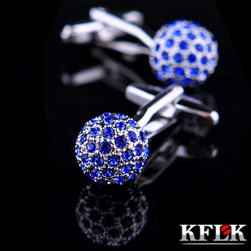 KFLK Jewelry Brand Blue Crystal Ball Cuff link Wholesale Buttons designer High Quality shirt cufflinks for mens Free Shipping