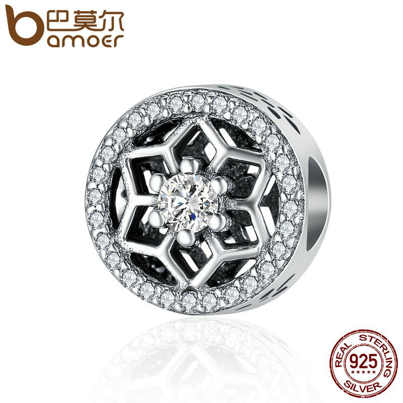 BAMOER High Quality Genuine 925 Sterling Silver Shimmering Snowflake Clear CZ Beads fit Women Charm Bracelet Jewelry SCC248