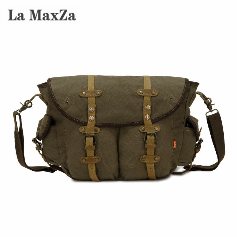 La Maxza Fashion Casual Messenger Bag Large Capacity Commuter Canvas Bag Cross Border Supply