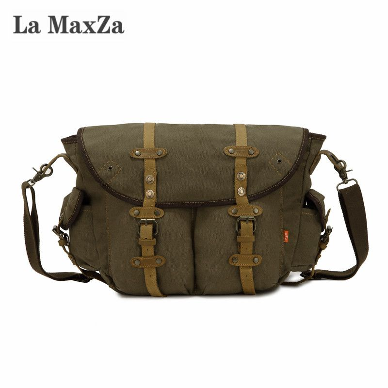 La Maxza Fashion Casual Messenger Bag Large Capacity Commuter Canvas Bag Cross <font><b>Border</b></font> Supply