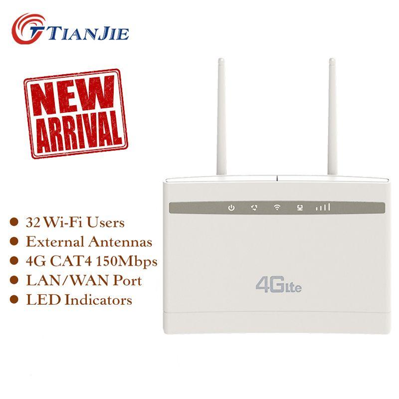TIANJIE débloqué 4G routeur 300Mbps Wifi routeur 4G LTE CPE routeur wifi avec Port LAN Support emplacement pour carte SIM routeur WiFi sans fil