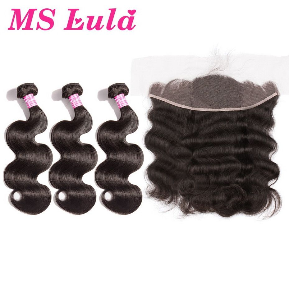 MS Lula Hair Brazilian Body wave 3 Bundles With Lace Frontal Closure 13x4 100% Human Remy Hair Swiss Lace Hair Extensions