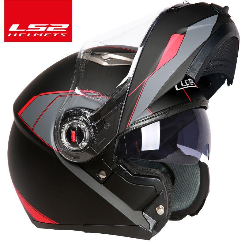 capacete ls2 ff370 Motorcycle helmet casco de moto cafe racer helmet <font><b>Flip</b></font> up Full Face dual lens visor capacetes de motociclista