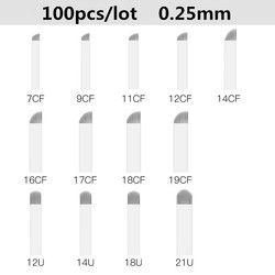 100 unids/caja agujas Microblading tatuaje permanente agujas para la ceja bordado pluma Pernement maquillaje ceja tatuaje suministros