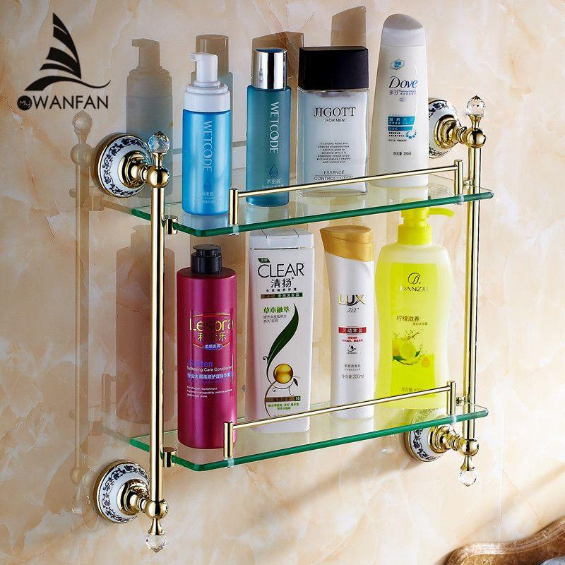 Bathroom Shelves Double Tempered Glass Shelf Solid Brass Golden Shower Rack Wall Mount Bath Shampoo Cosmetic Storage Holder 6314