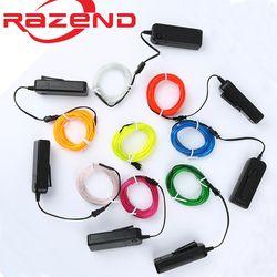1 m/3 m/5 M 3 V Flexible Neon Light Corde Glow EL Fil bande Câble bande LED Néon Lumières Chaussures Vêtements De Voiture étanche led bande Nouveau