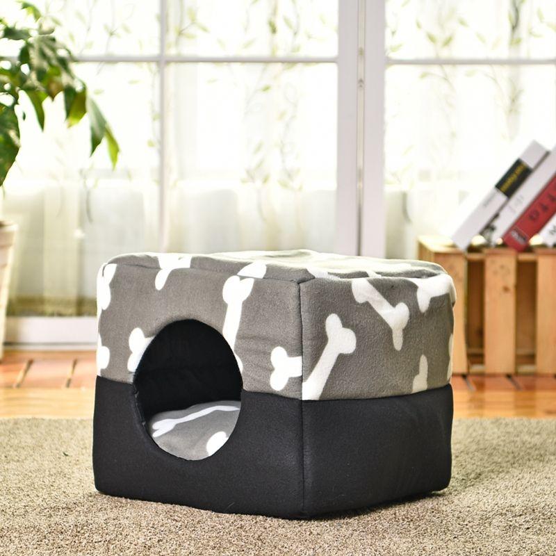 Multi-fonctionnelle Trois-Utiliser Chien Lit Coton Chenil Animal Domestique Chiot Maison Motif Os Gris Couleur S/ M Grande Qualité Chat Lit