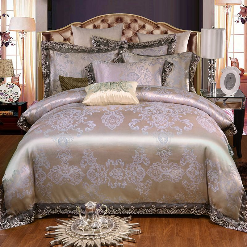 Satin Jacquard Luxury Bedding Set Queen King size Cotton Bedsheet Fitted sheet set Lace Duvet Cover Bed set juego/ropa de cama