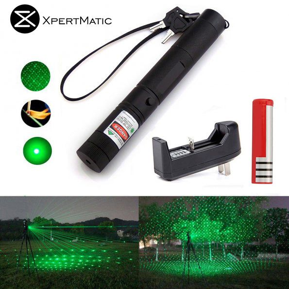 XpertMatic Military 532nm 5mw 303 <font><b>Green</b></font> Laser verde Pen Lazer Pointer Burning Beam Burn Match with 18650 Battery and Charger