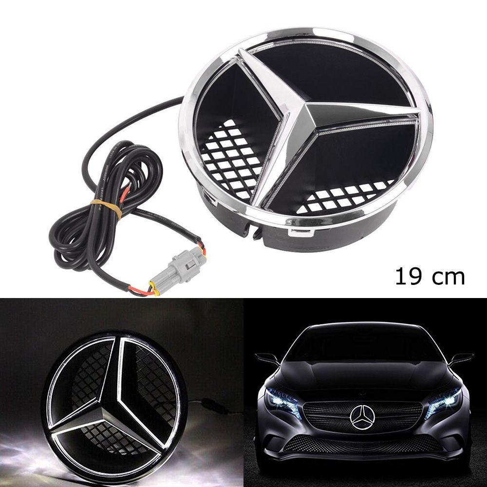 SITAILE Voiture LED Lumière Avant Grille Étoiles Logo Emblème Badge pour Mercedes Benz Capot Ornement Emblème Taille 19 cm/ 7.48 pouce snap-in